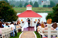 Wide angle view of outdoor wedding ceremony in SC.
