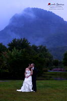 Bride and groom nc mountain portrait