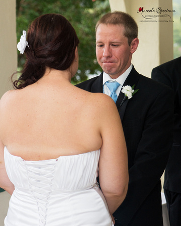 Groom cries during Lake Lure, NC wedding