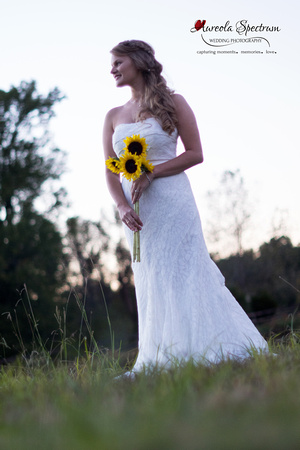 Bride and her sunflowers in Monroe, NC