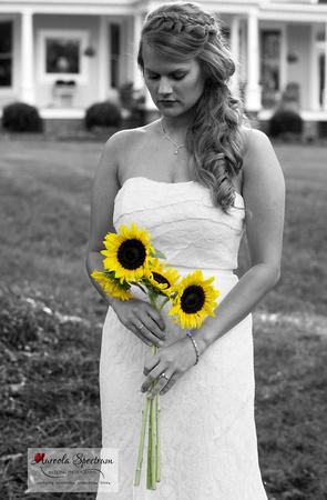 Artistic selective color wedding portrait in Monroe, NC