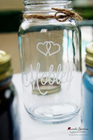 Sand ceremony jars detail photo nc wedding