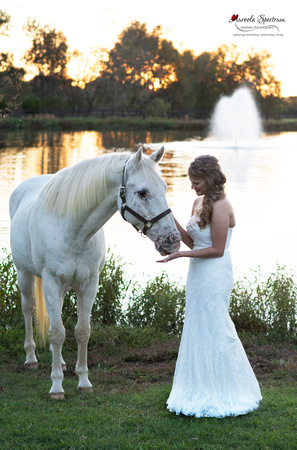 Bride and white horse Monroe, NC