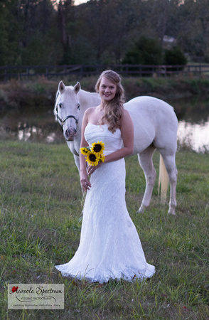 Bride and white horse in Monroe, NC