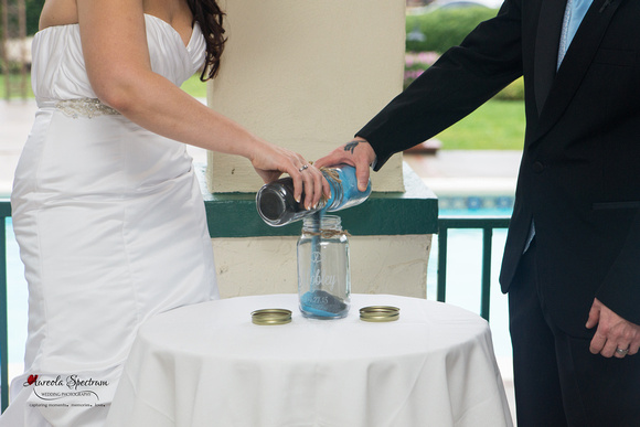 Detail of sand ceremony Lake Lure, NC wedding