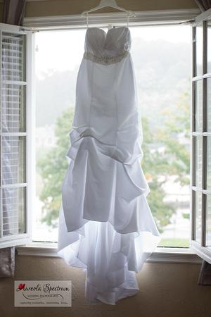 Wedding dress hangs in the window of lake lure hotel