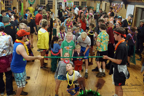 Heart kids do the limbo at Camp Luck 2016