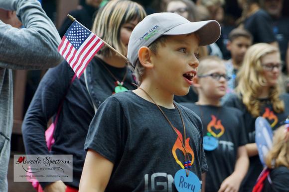Heart kid sings camp songs at camp luck 2016