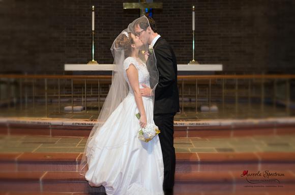 Bride and groom kiss under veil at Greensboro, NC wedding.