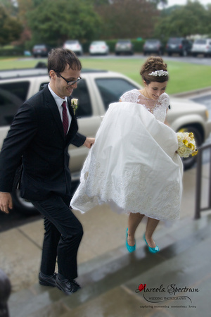 Bride and groom arrive at their reception location in Greensboro, NC