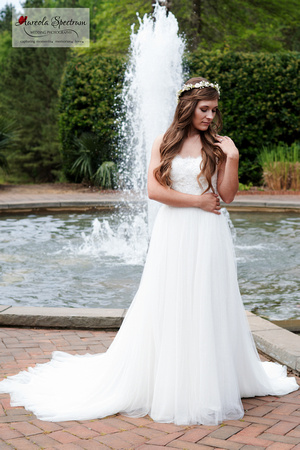 Beautiful bride at a fountain in NC.