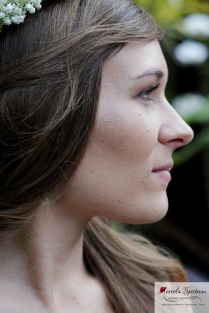 Head shot of beautiful bride