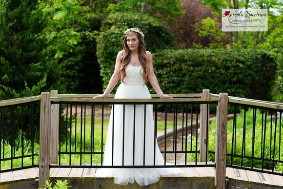 Sassy bride posed on NC bridge