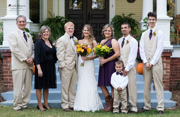 Traditional family portrait at Monroe, NC wedding.