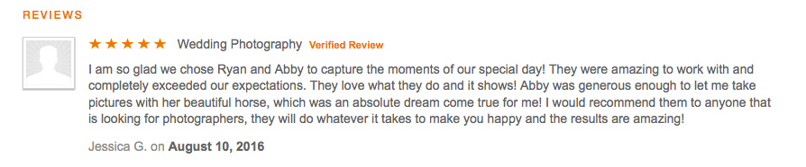 Client Review for Monroe, NC wedding