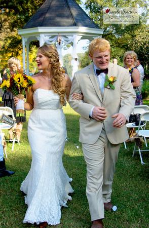 Bride and Groom exiting Monroe, NC ceremony