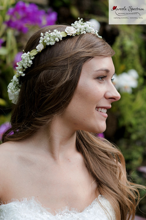 Head shot of bride at NC botanical garden.