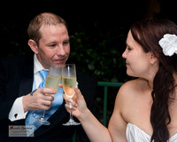 bride and groom toast at lake lure wedding