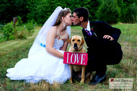 bride and groom kiss over their cute dog.